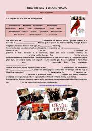 English Worksheet: The Devil Wears Prada Plot Summary Gap-fill