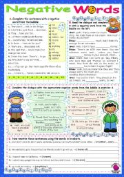 English Worksheet: Negative Words   (no, not, neither, nor, none, any, never...)