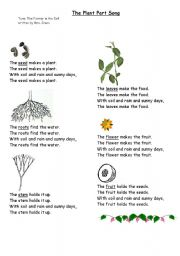 English Worksheet: The Plant part song.