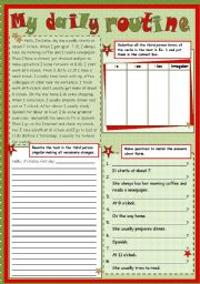 English Worksheets: My daily routine - reading & writing (present and past)