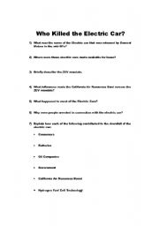 English worksheets: Who Killed the Electric Car Worksheet