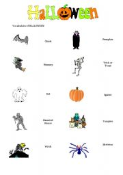 english worksheet halloween matching worksheet