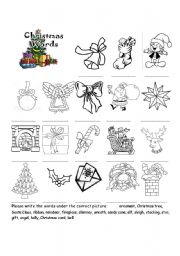 Christmas vocabulary pictionary and Letter to Santa writing