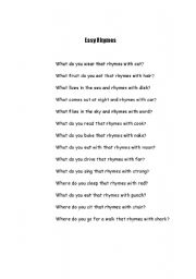 English Worksheets: Easy Rhyme