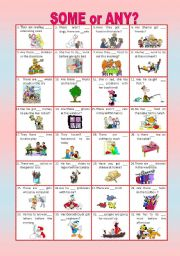 English Worksheet: SOME or ANY -