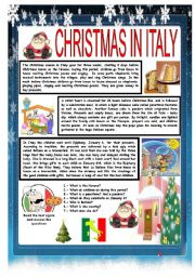 English Worksheet: CHRISTMAS AROUND THE WORLD - PART 2 - ITALY (B&W VERSION INCLUDED) - READING COMPREHENSION
