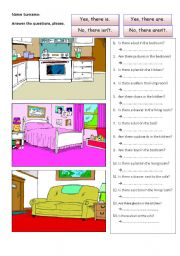 English Worksheets: prepositions with rooms of the house