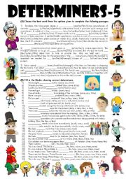 English Worksheet: Exercises on A, AN, THE, ONE, NO, FEW, A FEW, THE FEW, LITTLE, A LITTLE, THE LITTLE, MUCH, MORE, MOST, MANY, OUR, YOUR, HIS, HER, THEIR, OURS, YOURS, HIS, HERS, THEIRS, MY, MINE, LESS, SOME, ANY, THAT, THOSE, THESE, THIS (Editable with Key)
