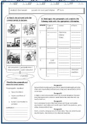 English teaching worksheets: Pollution