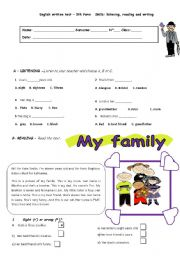 English Worksheet: Test- 5th form- My family and me