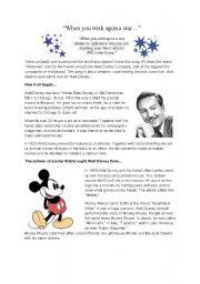 English Worksheet: Reading Comprehension Walt Disney