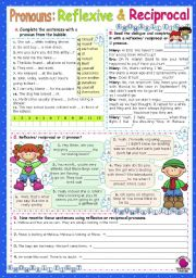 English Worksheet: Reflexive   &   Reciprocal Pronouns