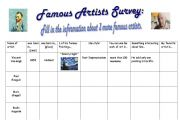 English Worksheet: Famous Artists Survey