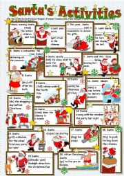 English Worksheets: SANTA�S ACTIVITIES  (Tense Revision)  B/W + Key included- Editable