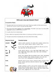 English Worksheet: Guided Writing: Vampire poems!