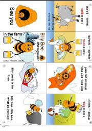 English Worksheet: Billy Bee at the farm 02 [C] (mini-book)