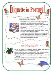 English Worksheet: Etiquette in Portugal - 3 pages
