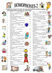 English worksheet: HOMOPHONES-2/3 (editable with answer key)