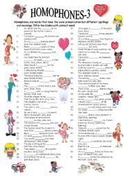 English Worksheet: HOMOPHONES-3/3 (editable with answer key)
