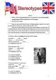 English Worksheet: Stereotypes /British and American culture