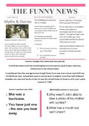 English Worksheet: Funny News issue number 15 conversation,reading and writing prompts