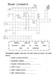 English teaching worksheets flowers for Japanese flower arranging crossword clue