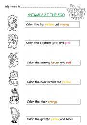 English Worksheet: Animals at the zoo