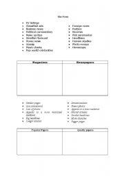 English Worksheets: The press