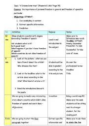 English Worksheets: freedom of speech