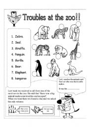 English Worksheets: troubles at the zoo