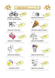 English Worksheets: how much...?