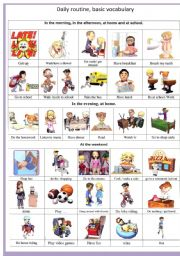 English Worksheets: 3D daily routine basic vocabulary