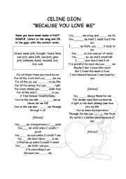 English Worksheets: because you loved me (song)