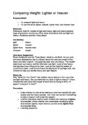 English Worksheets: comparing- Heavy and light