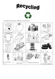 English Worksheet: recycling