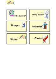 English Worksheets: students roles in groups