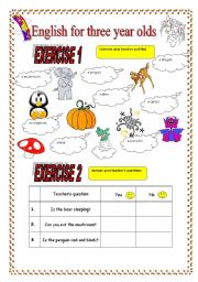 English Worksheets: 4 Activities for kids (3-8) and A CUTE Title page