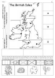 English Worksheet: British Isles map + flags + emblems