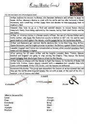 English Worksheet: King Arthur (2004 version) summary (put back into order)