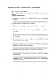 English Worksheet: Simulation of phone call from American family to Au pair - WITH EXERCISE