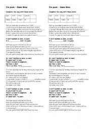 English worksheet: I´m your - Jason Mraz - vocabulary song activity