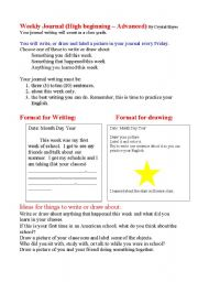 English Worksheets: Weekly Journal Using Words and/or Pictures