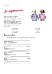 English Worksheets: first class