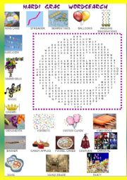 MARDI GRAS WORD SEARCH -PICTIONARY +KEY