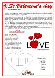 english worksheet st valentine day. Black Bedroom Furniture Sets. Home Design Ideas