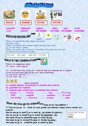 English Worksheet: months -seasons-weather conditions