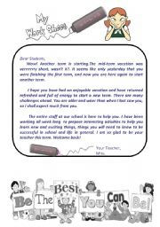 English Worksheets: a welcoming letter from teacher to her students