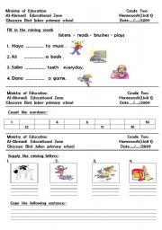 English worksheet: reading  and  writing  worksheet