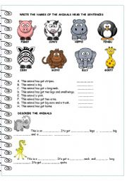 English Worksheets: CUTE ANIMALS