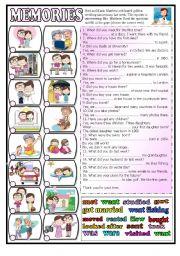 English Worksheet: Memories  - past tense (BW+key)